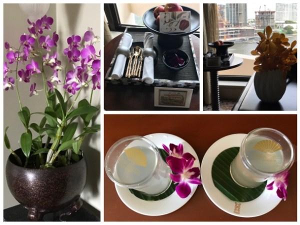 Flores no quarto do Mandarin Oriental Bangkok