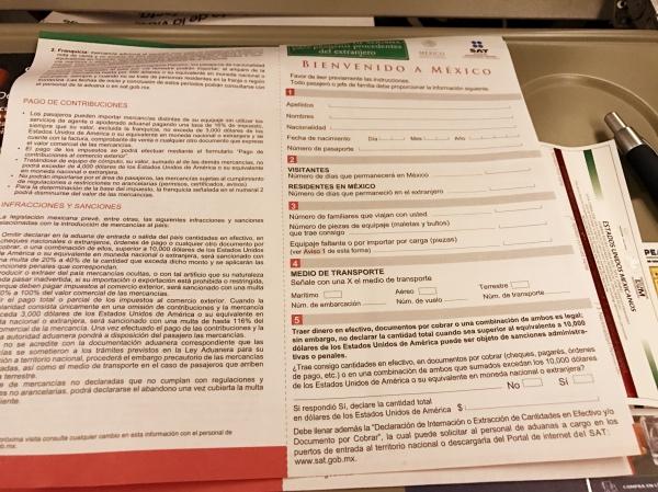 Formulário de imigração no México