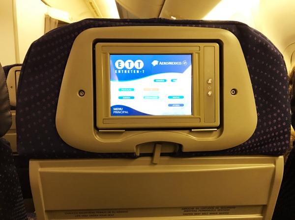 Tela de entretenimento da Aeroméxico