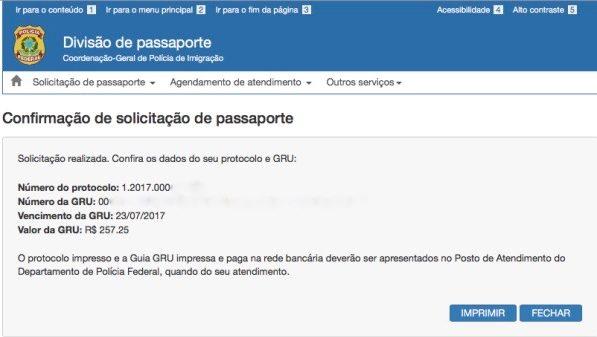 Confirmação de solicitação de passaporte