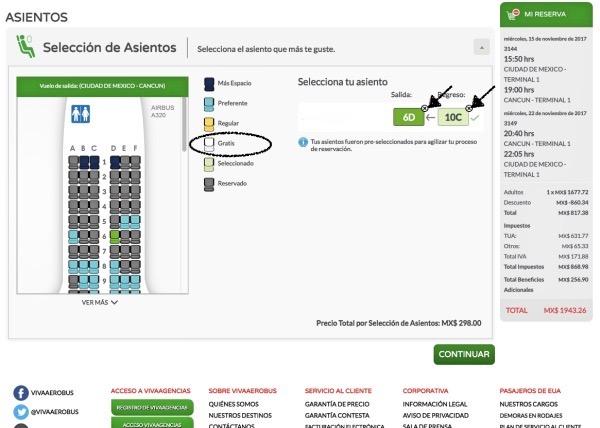 Seleção de assentos no Viva Aerobus