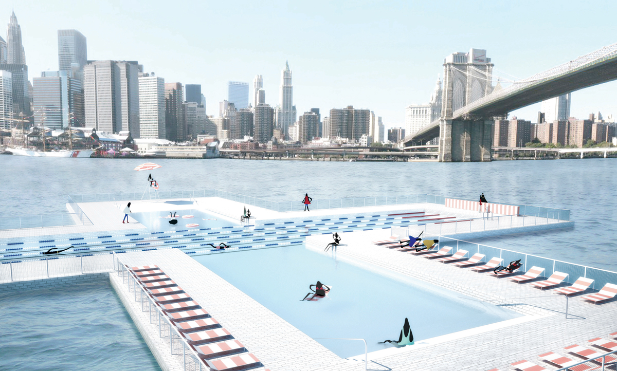Pool  piscines flottantes qui filtrent la pollution dans New York