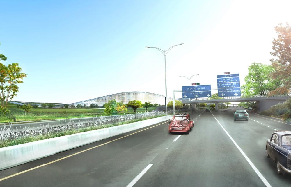 europa city acces autoroute gonesse Europa City : plus grand complexe commercial dEurope au nord de Paris par BIG architectes