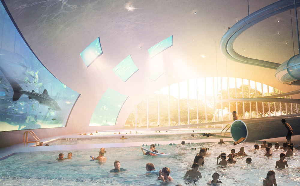 europa city big piscine aquarium Europa City : plus grand complexe commercial dEurope au nord de Paris par BIG architectes