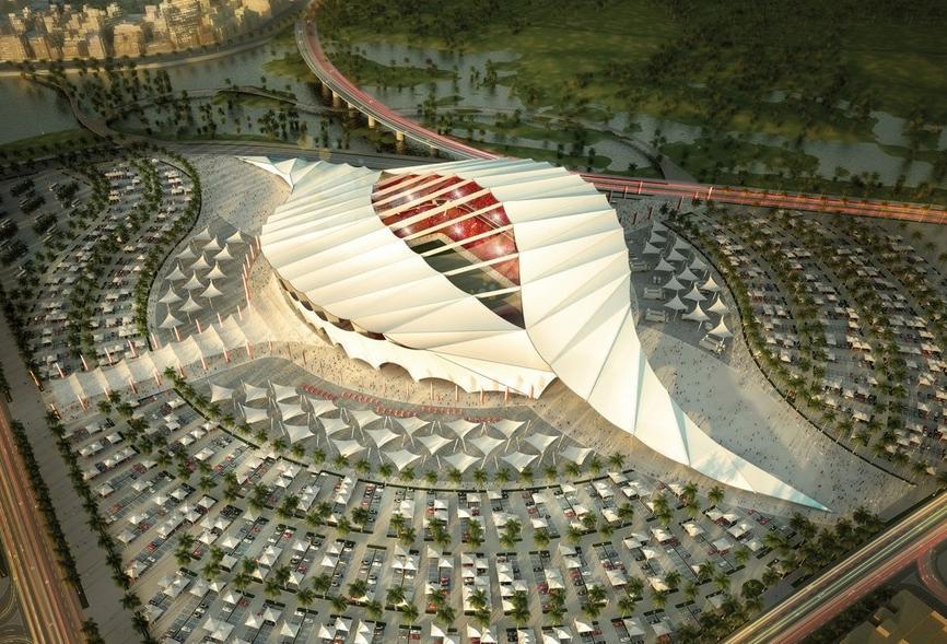 Le stade est construit spécialement pour la coupe du monde et sera démantelé immédiatement après. Les stades de la coupe du monde de foot en 2022