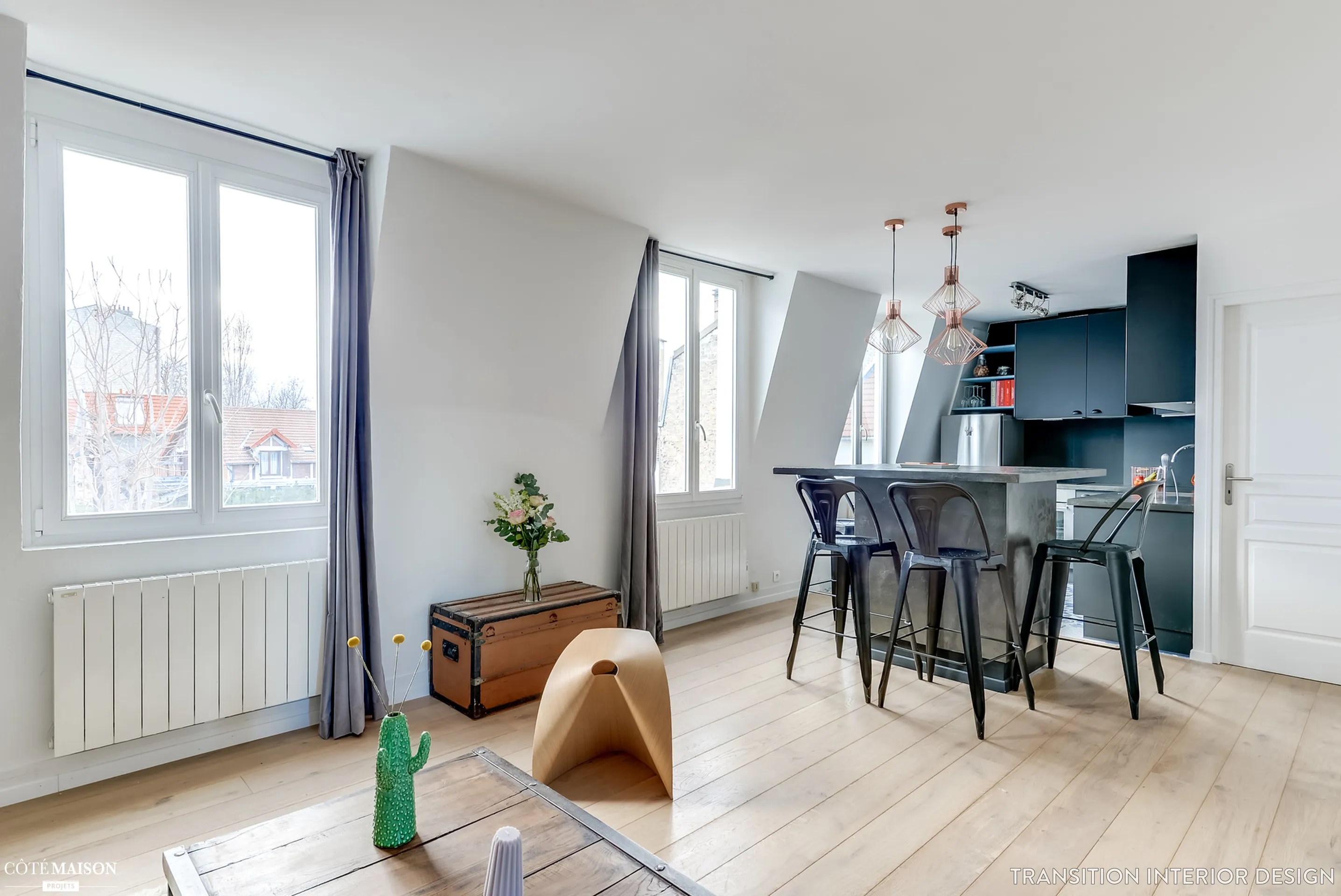 Rnovation complte dun appartement pour un jeune couple Transition Interior Design  Ct Maison