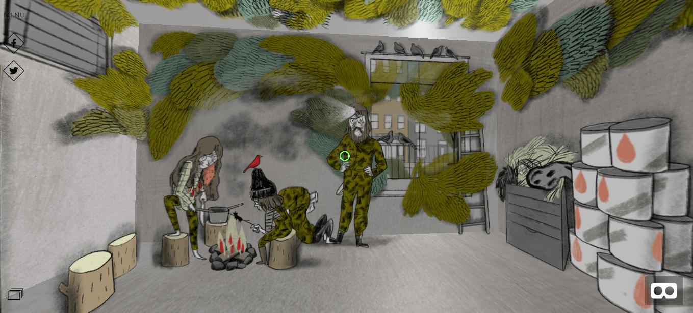 Famille habillée en camouflage. Le dessin est différent des autres épisodes.
