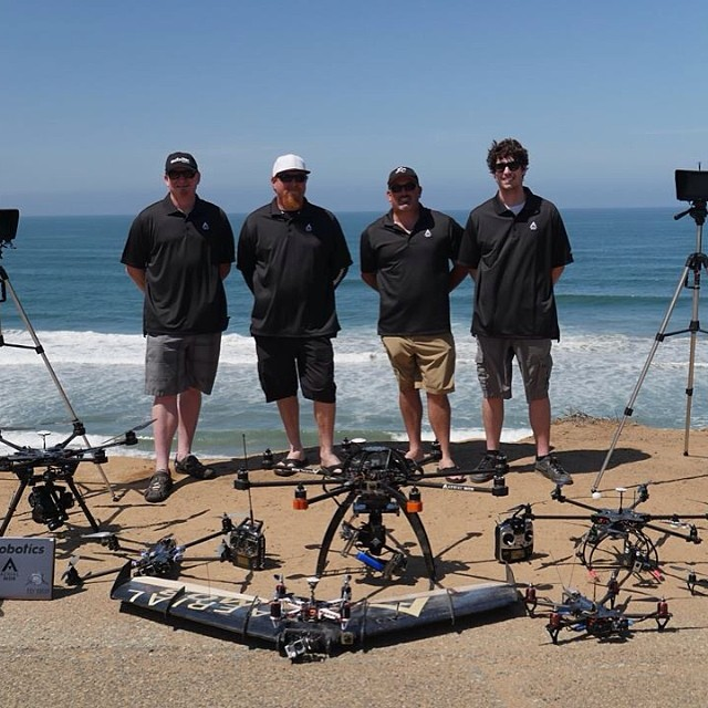 The Aerial MOB team —from left, Treggon Owens, Steve Blizzard, Tony Carmean and Jonathan Montague—after testing some of the equipment in Carlsbad, California.