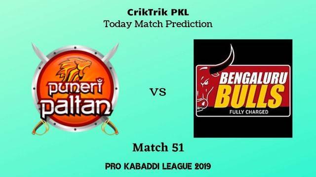 pune vs bengaluru match51 - Puneri Paltan vs Bengaluru Bulls Today Match Prediction - PKL 2019
