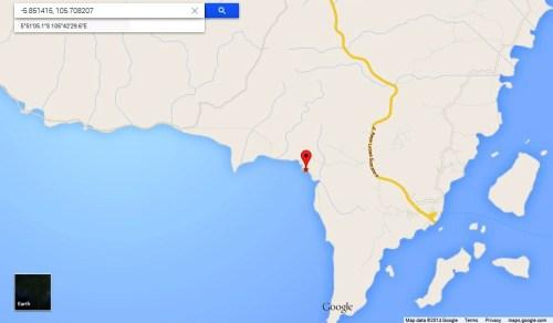 Lokasi Pantai Blebu, Desa Kelawi Kecamatan Bakauheni - Lampung Selatan