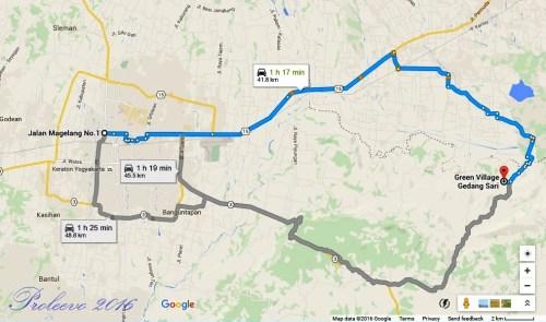 Peta rute menuju gedangsari
