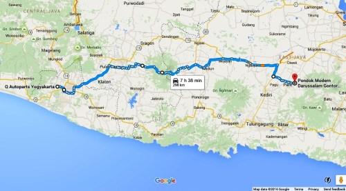 Peta rute Yogyakarta Kediri