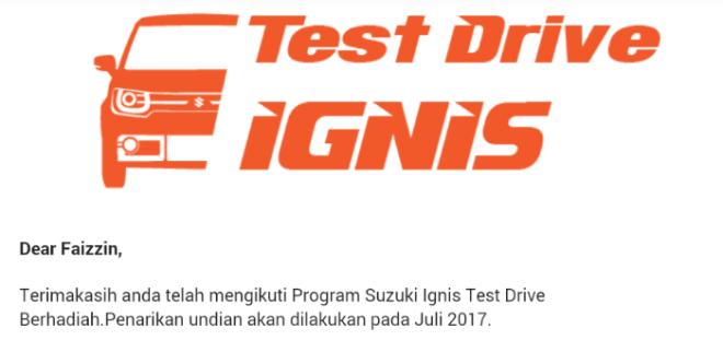 Cara Ikutan Test Drive Ignis Berhadiah Suzuki GSX