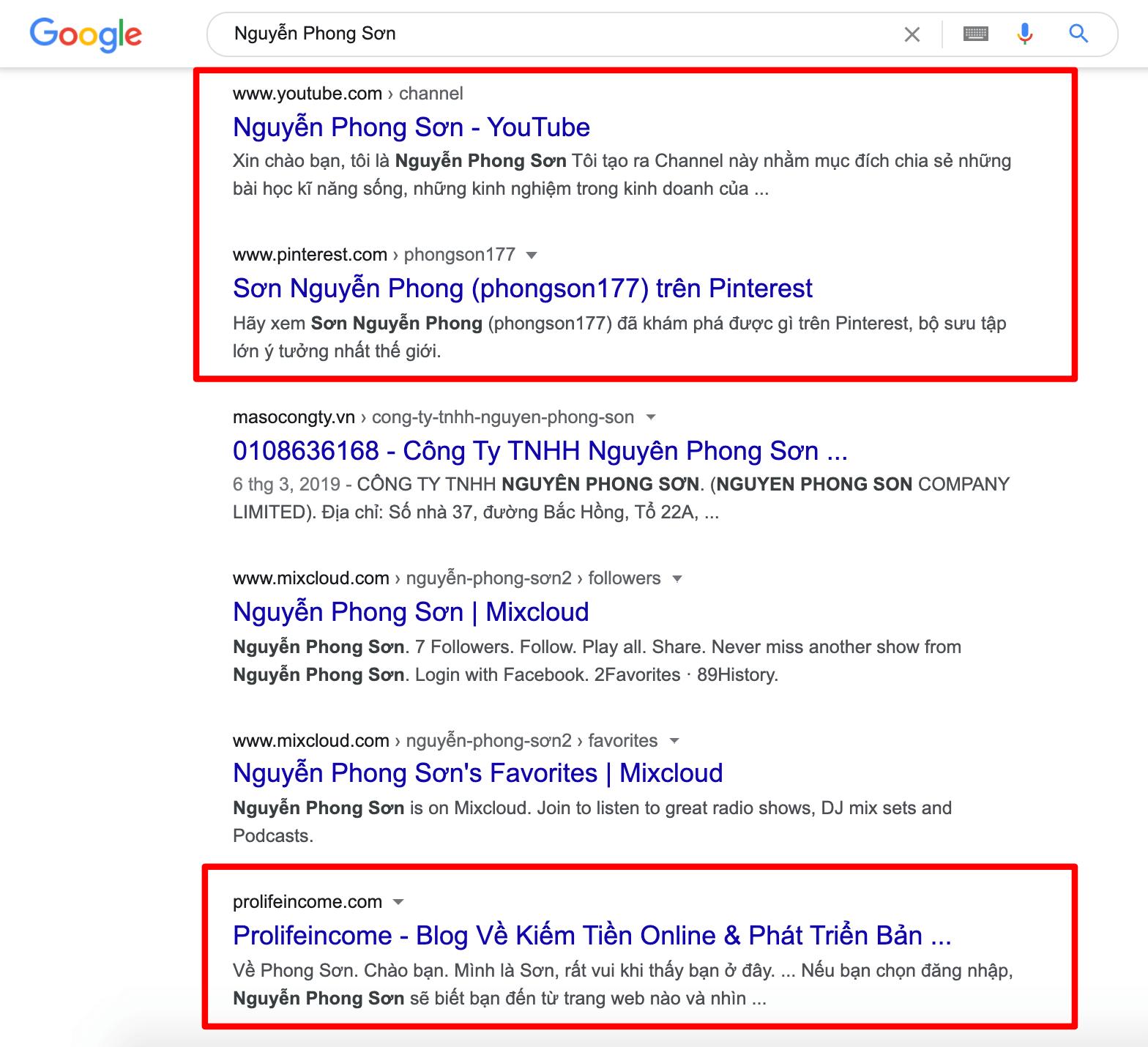 Nguyễn Phong Sơn Trên Google