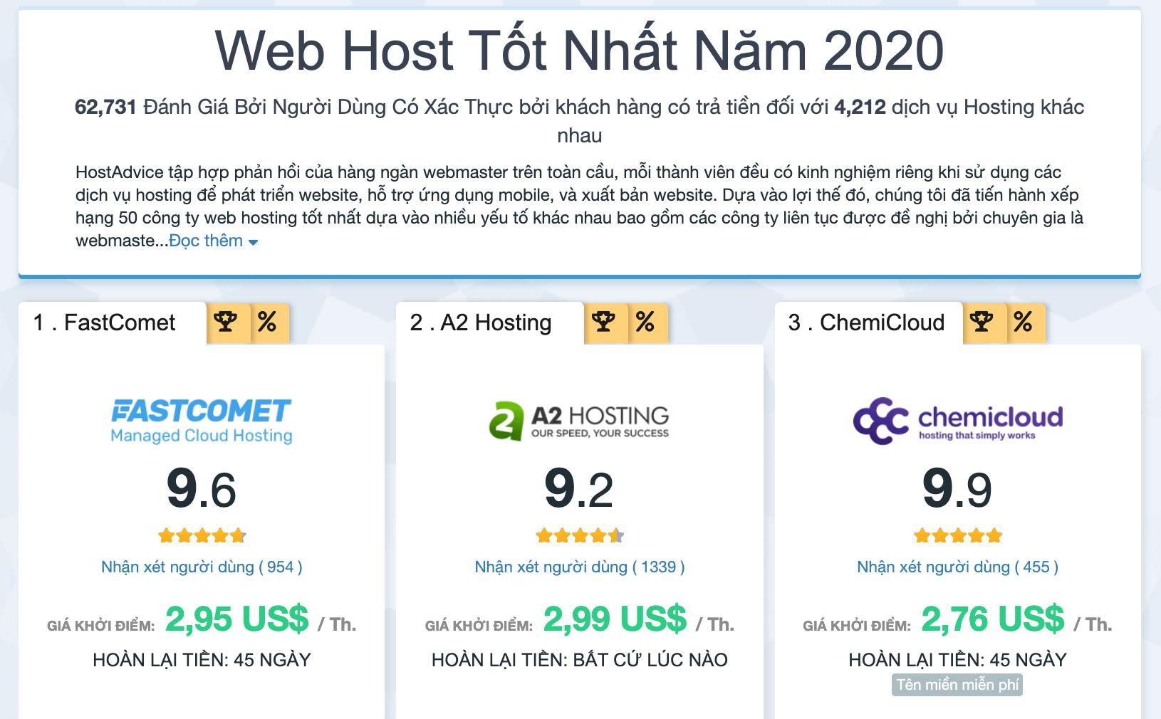 top hosting tốt nhất 2020