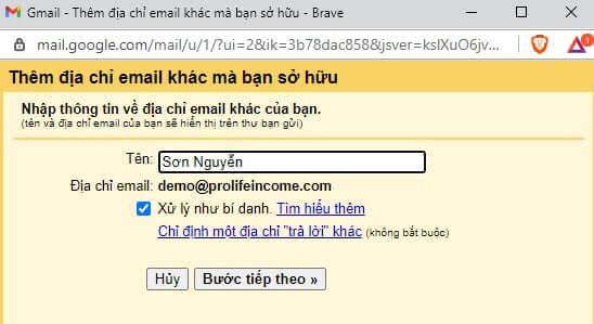 Nhập tên hiển thị cho địa chỉ email bạn vừa tạo