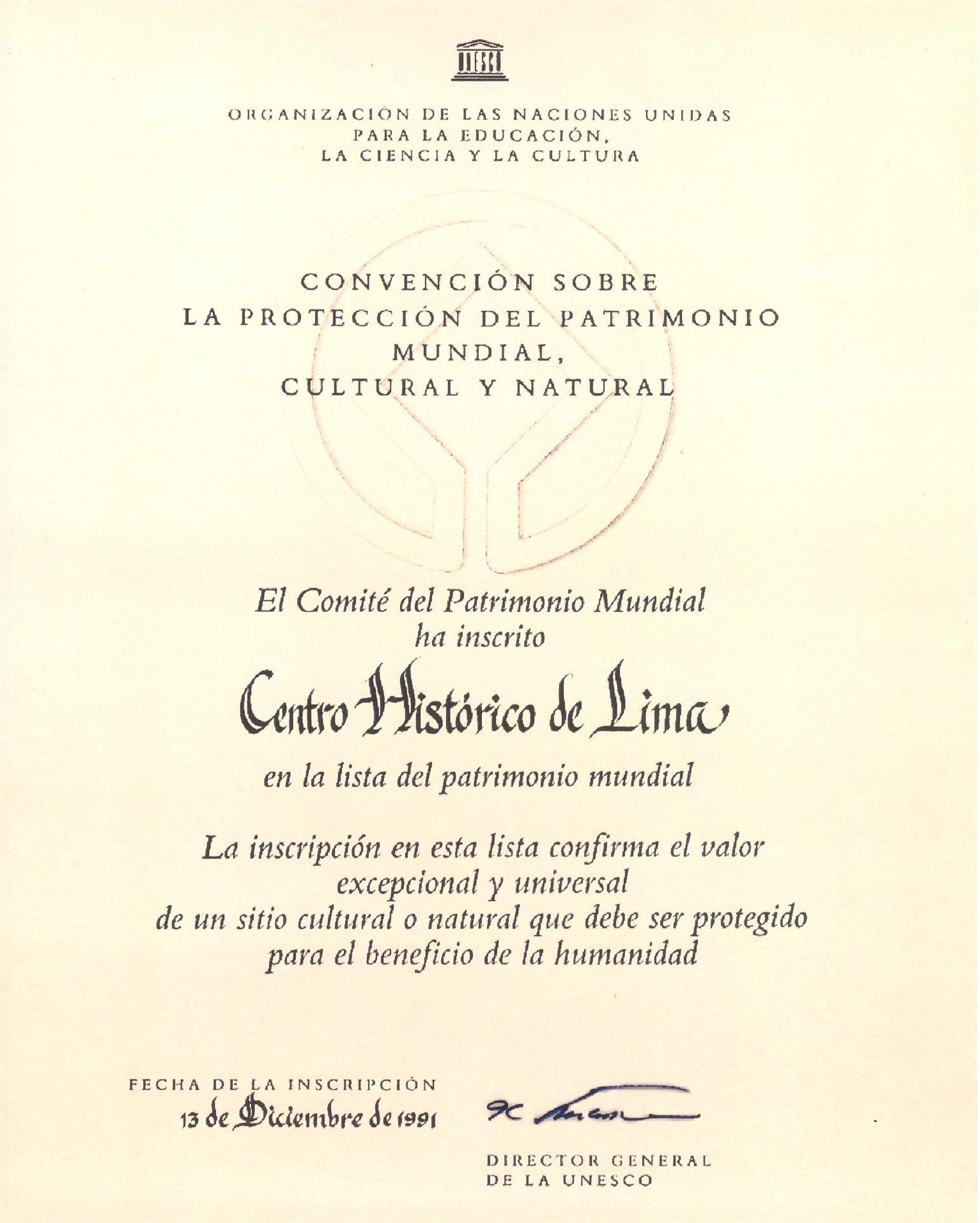 LIMA CIUDAD PATRIMONIO DE LA HUMANIDAD