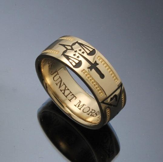 Handmade Masonic Ring In 14k Gold Vintage Style 024