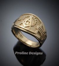 Masonic Blue Lodge Ring Cigar Band Style in Gold