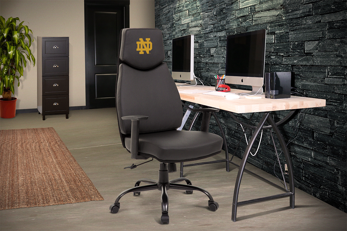 notre dame chair genuine leather dining chairs fighting irish college executive office proline hrc nd