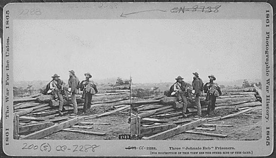 Three Confederate prisoners captured at Gettysburg. (National Archives, LC-CC-2288)