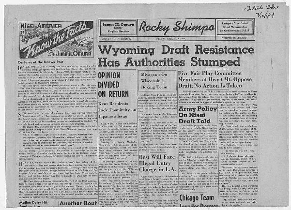 """Newspaper article from Rocky Shimpo: """"Wyoming Draft Resistance Has Authorities Stumped"""", 03/10/1944 (ARC 292810)"""