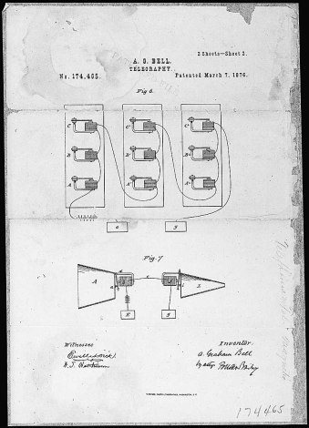 Alexander Graham Bell's Telephone Patent Drawing, Record Group 241, Records of the Patent and Trademark Office, National Archives (ARC Identifier 302052)