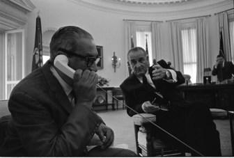 Photograph of President Lyndon B. Johnson Meeting with Thurgood Marshall, 06/13/1967 (ARC 2803439)