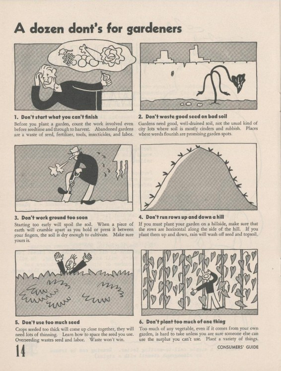Tips from in a Victory Garden Leader's Handbook from the National Archives at Seattle, Pacific Alaska Region.