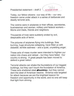 page 1 of Bush's 9/11 speech