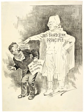 After his victory in the 1904 election, President Theodore Roosevelt promised that although his first term had lasted only three years (beginning after the assassination of President William McKinley in 1901), he would adhere to the two-term precedent established by George Washington. Yet by 1912, convinced that only his progressive leadership would save the Repbulican party, Roosevelt announced his candidacy. Roosevelt contended that he had only promised to refuse a third consecutive term. Berryman shows Roosevelt attempting to dodge the anti-third term principle as he crouches before Washington's ghost. Not until 1951, after Franklin Roosevelt's four terms in office, did Congress enact the XXII Amendment to the Constitution, officially limiting Presidents to two terms (NAtional Archives Identifier 306175)
