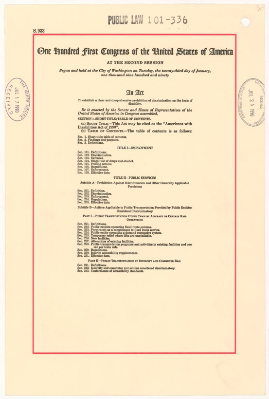 Page one of the the Americans with Disabilities Act, July 26, 1990.