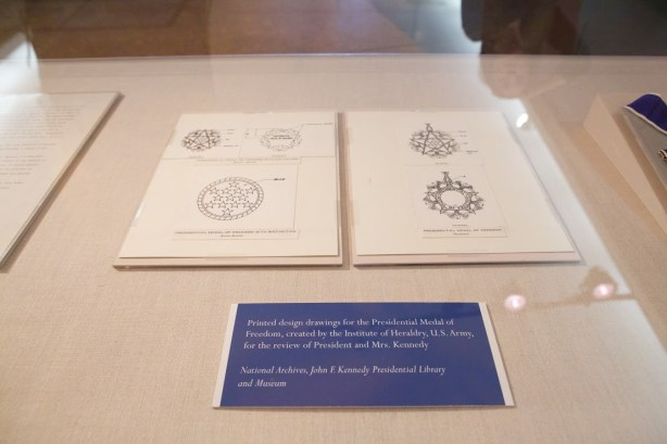 The design drawings for the Medal of Freedom in the temporary case at the Smithsonian's Museum of American History