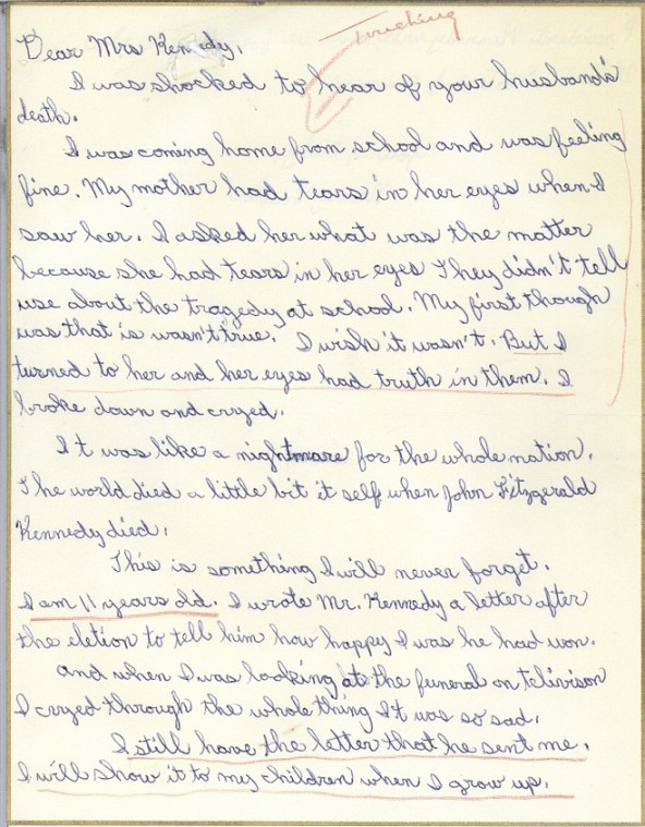 Page one of a letter from Nancy Taylor to Jacqueline Kennedy, December 1963