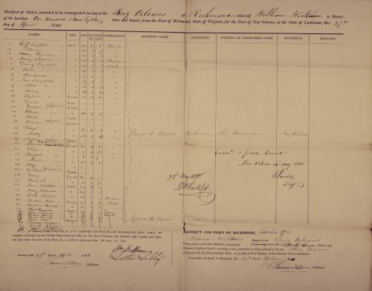The slave manifest for the brig Orleans includes Solomon Northup, listed as Plat Hamilton, at number 33. (National Archives).