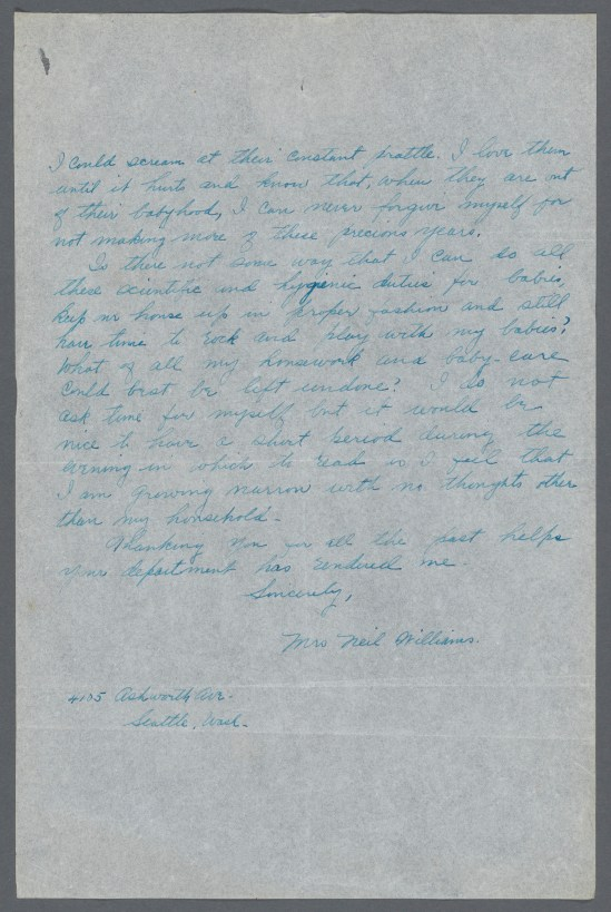 Page two of a letter from Mrs. Neil Williams to Julia Lathrop of the Children's Bureau, 1920. National Archives, Records of the Children's Bureau
