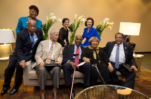 """Veteran civil rights leaders and others got together. Front row, from left: U.S. Representative John Lewis of Georgia, NAACP President Julian Bond, former National Urban League President Vernon Jordan, singer Mavis Staples (who led everyone in singing """"We Shall Overcome,"""" and former U.S. Ambassador to the United Nations Andrew Young. Back row, from left: Dr. Bernice King, daughter of Rev. Martin Luther King Jr., and Luci Baines Johnson and Lynda Johnson Robb, daughters of President Lyndon Johnson. (LBJ Library photo by David Hume Kennerly)"""