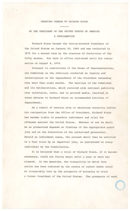 Presidential Proclamation 4311 of September 8, 1974, by President Gerald R. Ford granting a pardon to Richard M. Nixon., 09/08/1974. (National Archives Identifier 299996)