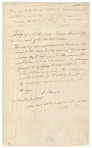 Letter from James Monroe to President James Madison, August 22, 1814. (Records of the U.S. House of Representatives, National Archives)