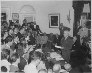 President Truman announces Japan's surrender, August 14, 1945. (National Archives Identifier 520054)
