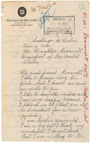 Carta de Fidel Castro al president Roosevelt, 11/06/1940. (Identificador de los Archivos Nacionales: 302040)