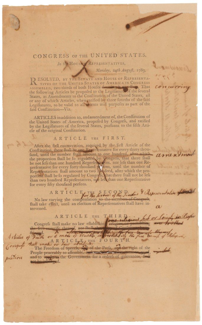 Senate Revisions to the Proposed Bill of Rights, page 1, 9/9/1789. (National Archives Identifier: 3535588)