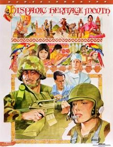 AFIS cartel publicitario. Mes de la Herencia Hispana. Cartel de Defensa #81, 01/01/2000. (Identificador de los Archivos Nacionales: 6507500)