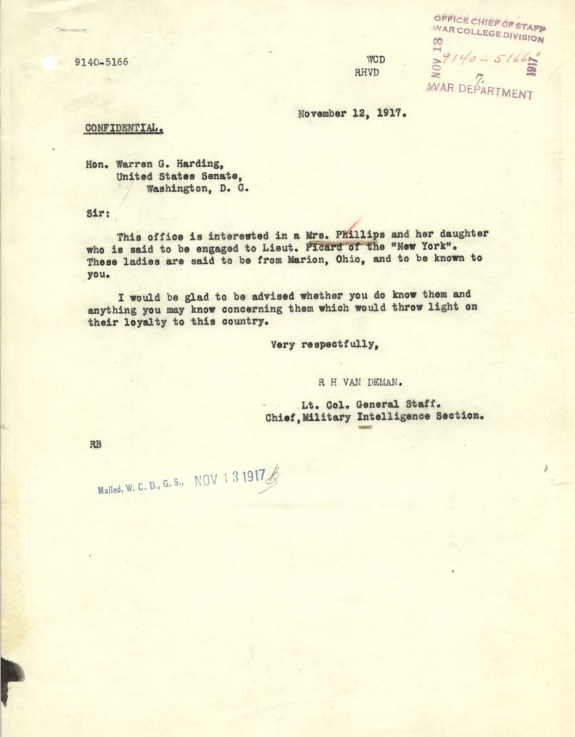 Letter from the Chief of the War Department's Military Intelligence Section to Senator Harding, November 12, 1917. (Records of the ..., Record Group ...)