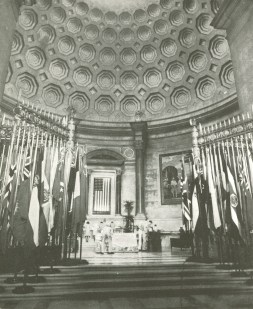 Exhibition Hall of the National Archives with the German surrender documents on display, 1945. (National Archives History Office)