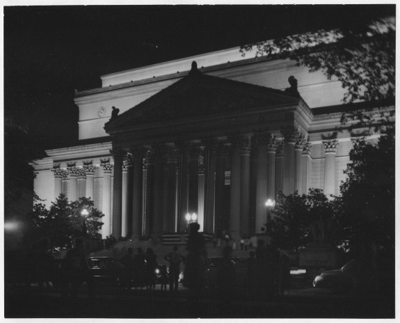 Photograph of the National Archives Building Lit Up at Night, 08/29/1954. (National Archives Identifier 7873481)