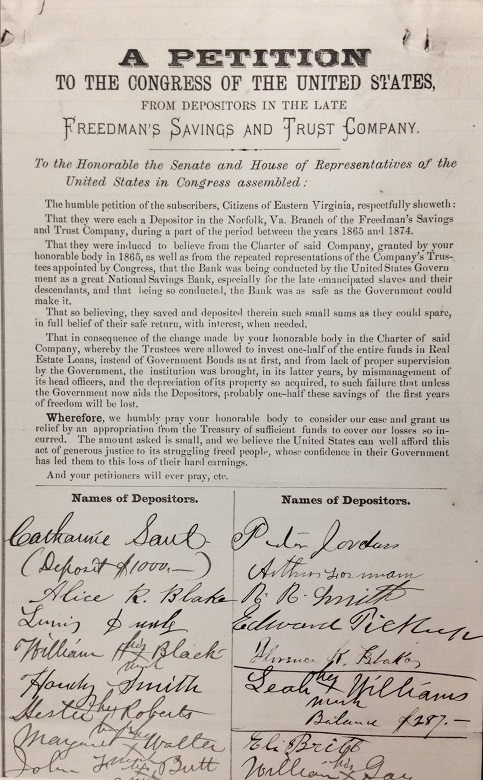 While half of the depositors of the Freedman's Bank eventually received some compensation, others received nothing. Some, including these depositors in the Norfolk, Virginia, branch, tried unsuccessfully in 1880 to petition Congress for reimbursement.
