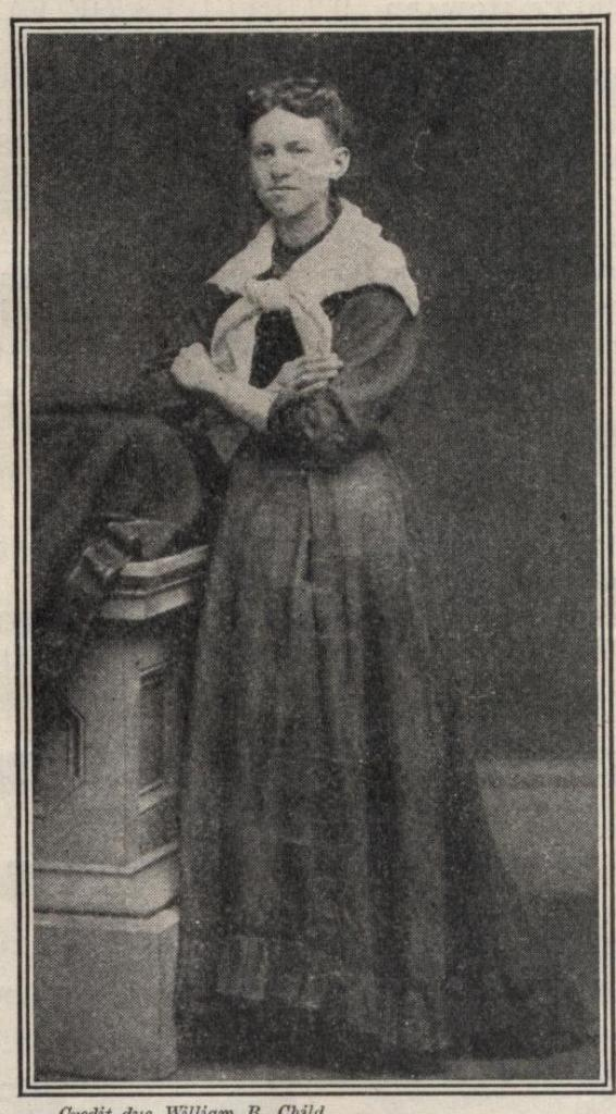 """Photograph of Ida Wilson Lewis, from her official personnel folder. The image is from """"New Idea Woman's Magazine,"""" vol. XXI, January 1910. The magazine captioned the image """"As Miss Lewis looked in 1869."""""""