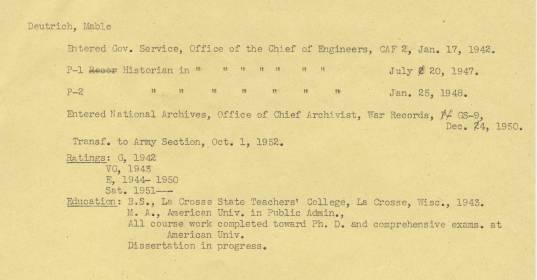 """Record Group 64, A1 106, file """"Personnel,"""" National Archives"""