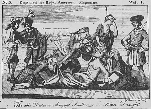 The able Doctor, or America Swallowing the Bitter Draught. Illustrates the aftermath of the Boston Tea Party-—the Boston Port Bill and the closing of the port. Copy of engraving by Paul Revere, June 1774. (National Archives Identifier 535722)